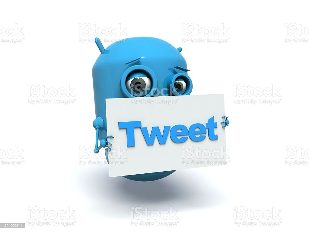 Cute blue robot. Tweet. stock photo