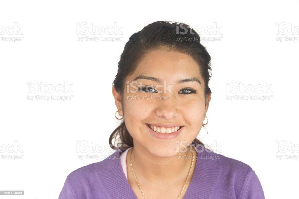 Linda garota sorridente boliviano - foto de acervo