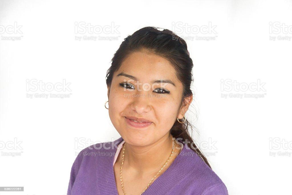 Cute Bolivian girl smiling stock photo