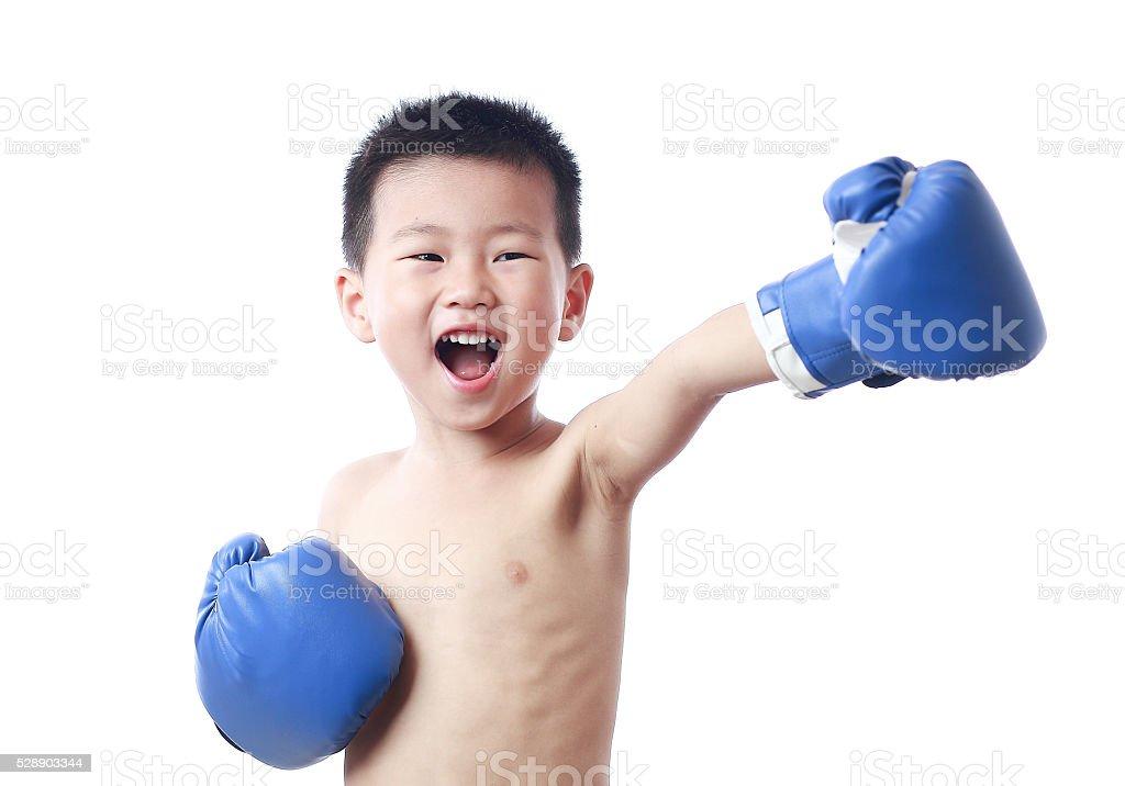 cute boy boxing stock photo