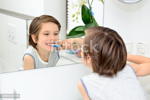 948443044 istock photo Cute boy brushing teeth 638309216