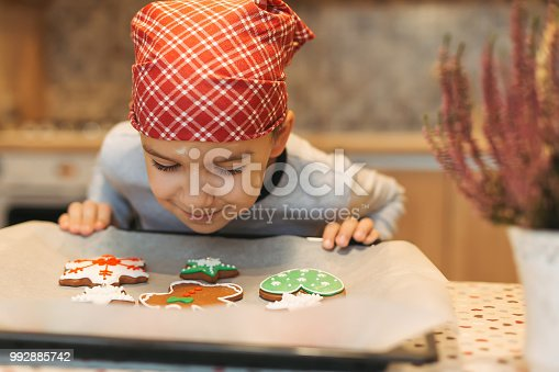 Child looking to colorful cookies on baking tray. Smiling boy anticipating how tasty are fresh baked Christmas biscuits. Cheerful boy smelling tasty Christmas cookies.