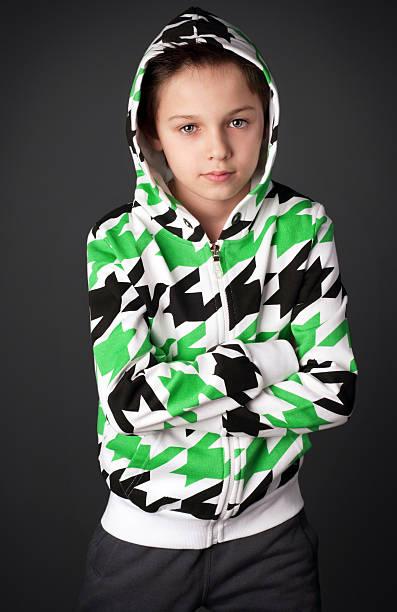 Cute boy in sportswear. stock photo