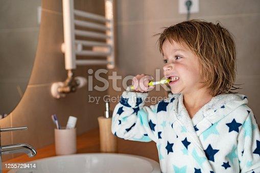948443044 istock photo Cute boy is brushing teeth 1255729414