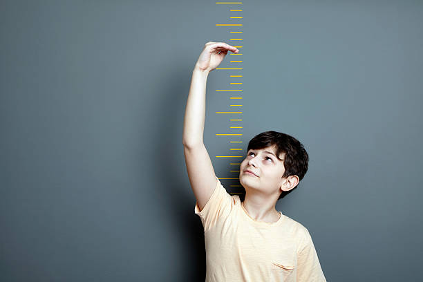 Cute boy is showing height on a wall scale stock photo