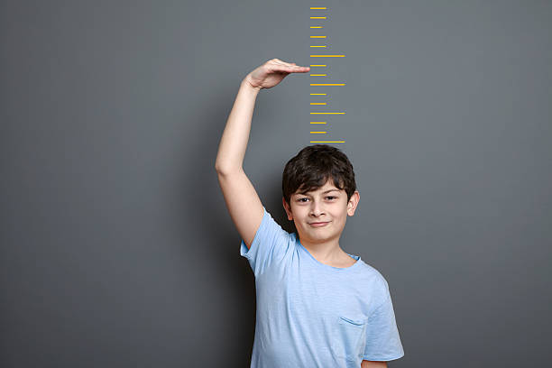 cute boy is showing height on a wall scale - height measurement stock photos and pictures