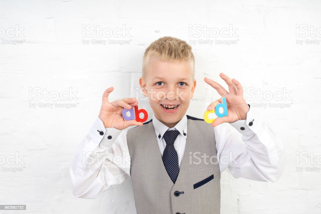 Cute boy kid stock photo