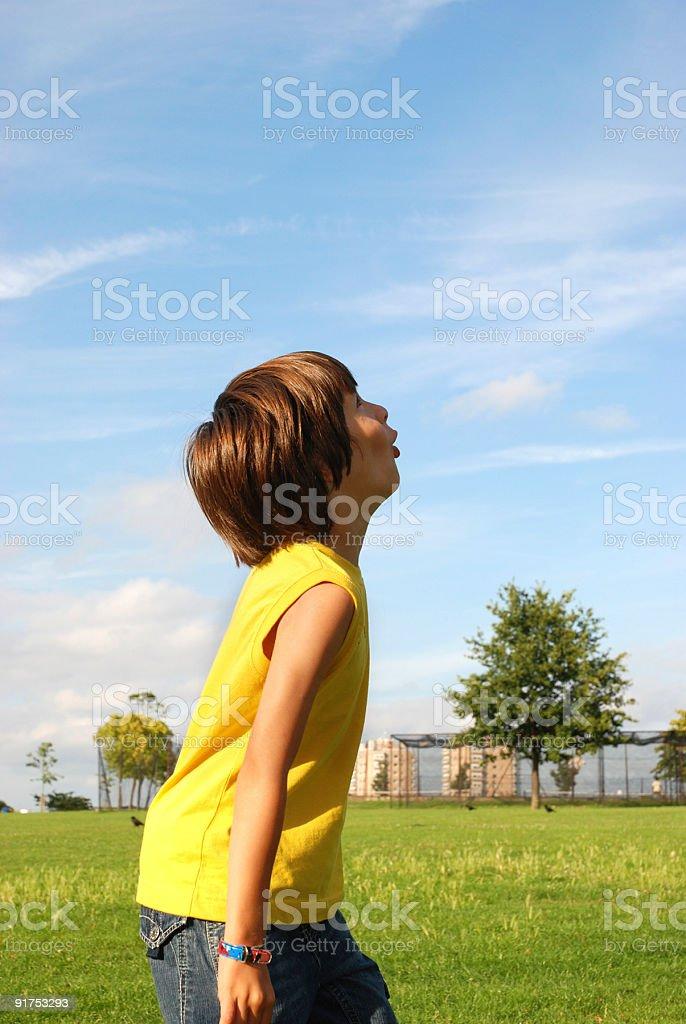 Cute boy looking up at sky royalty-free stock photo