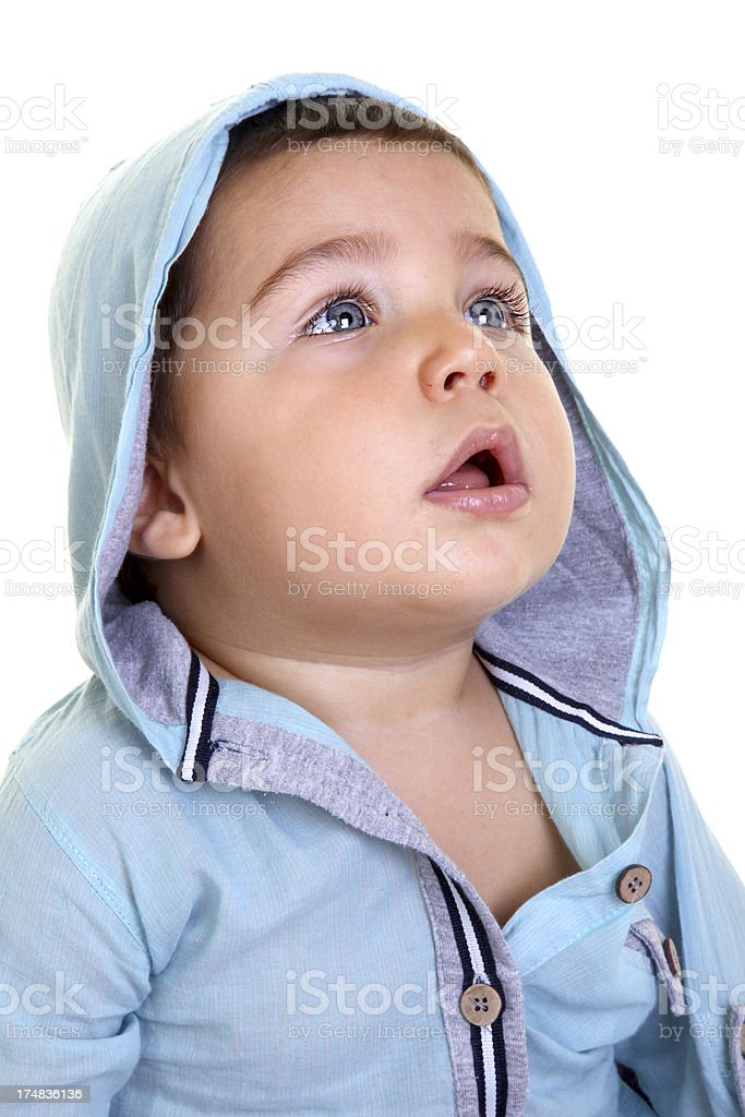 cute boy looking up royalty-free stock photo