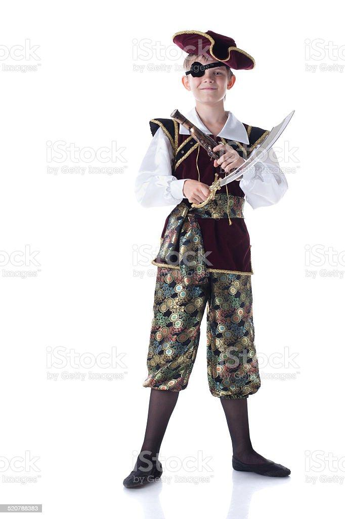 Süße junge posieren in Piraten-Kostüm mit Augenklappe – Foto