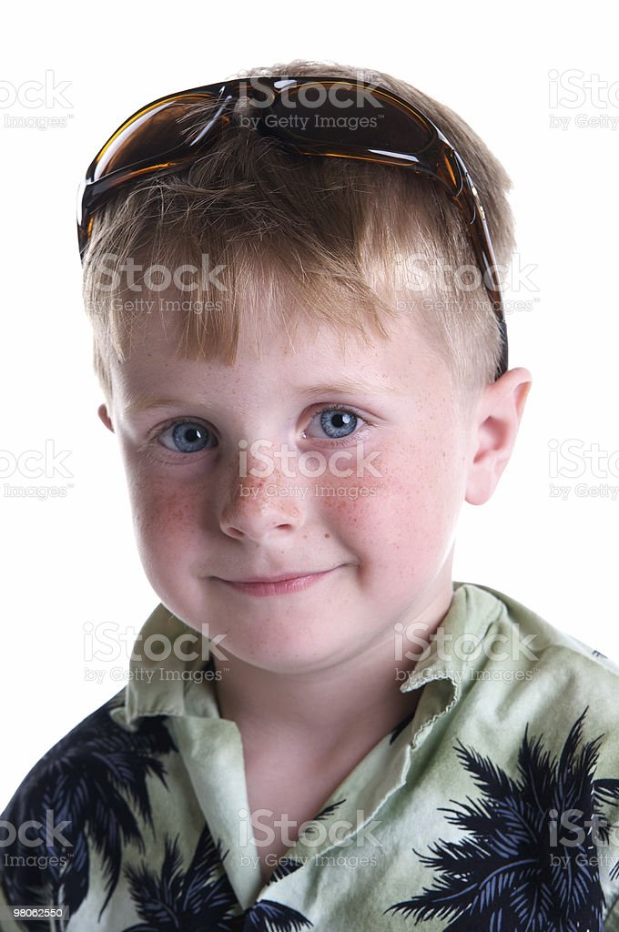 Cute Boy Ready for a Tropical Vacation royalty-free stock photo