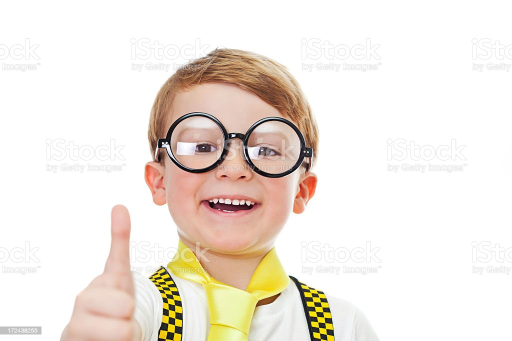 Cute boy showing thumbs up royalty-free stock photo