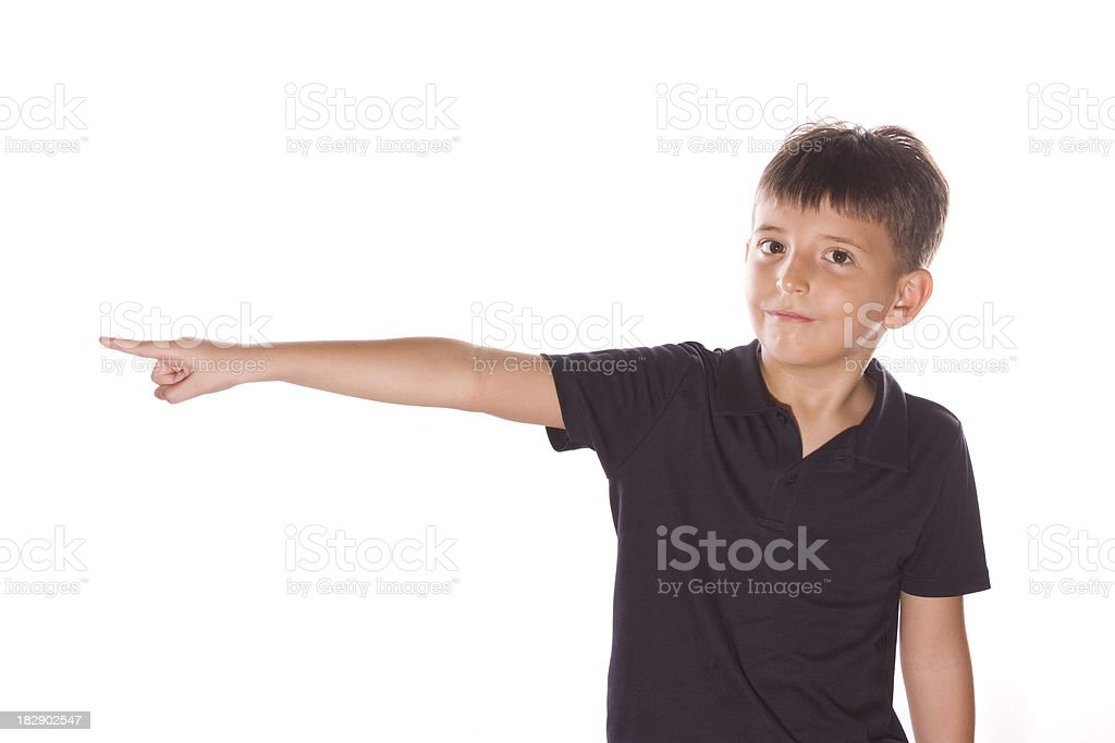 Cute boy shows stock photo
