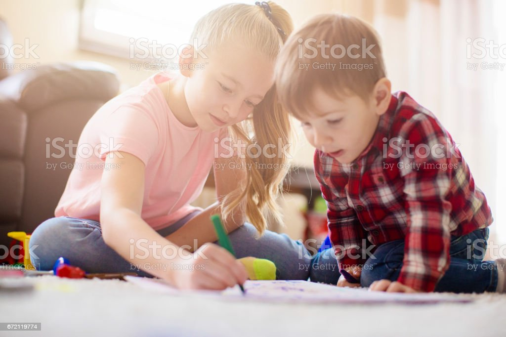 Cute Brother And Sister Drawing Together Stock Photo More Pictures