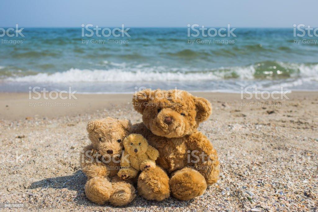 3 cute brown teddy bears sit at tropical beach stock photo