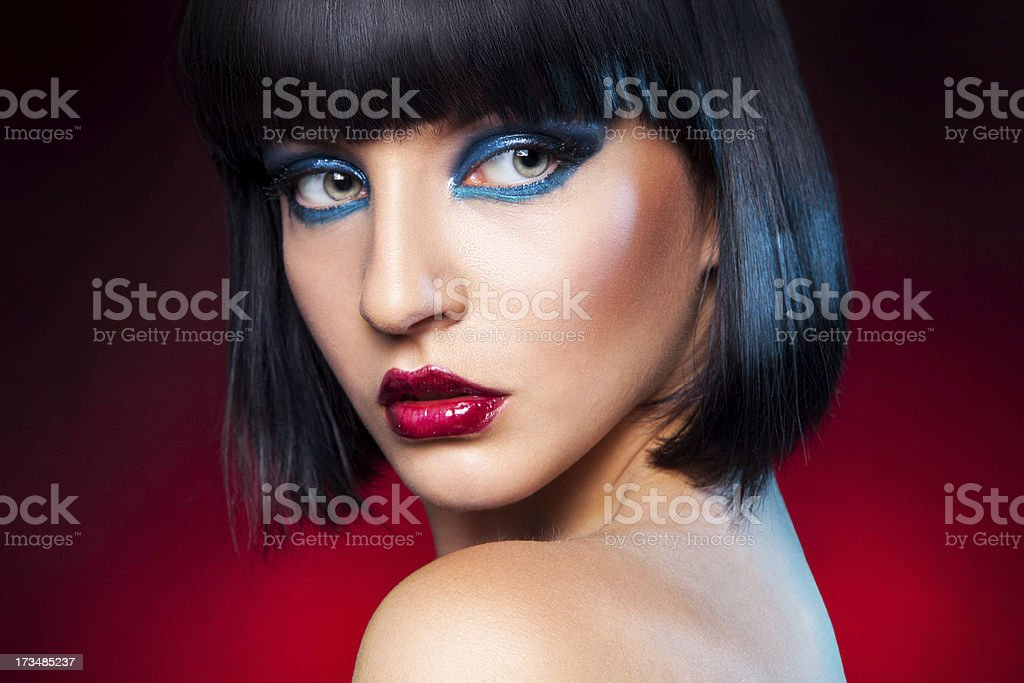Cute brunette looking away royalty-free stock photo