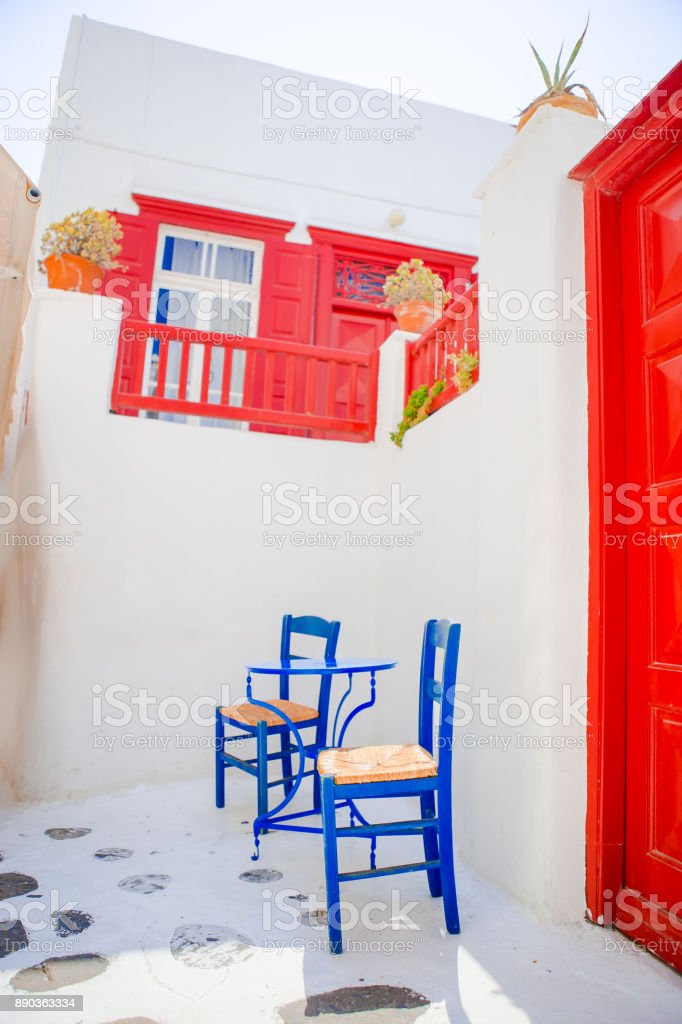 Cute Cafe On The Street Of Typical Greek Traditional Village On