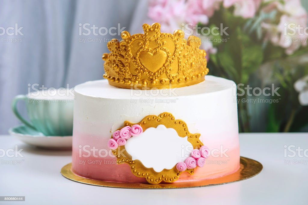 Cute Cake With A Gold Crown On The Table Cups To Birthday For Princess