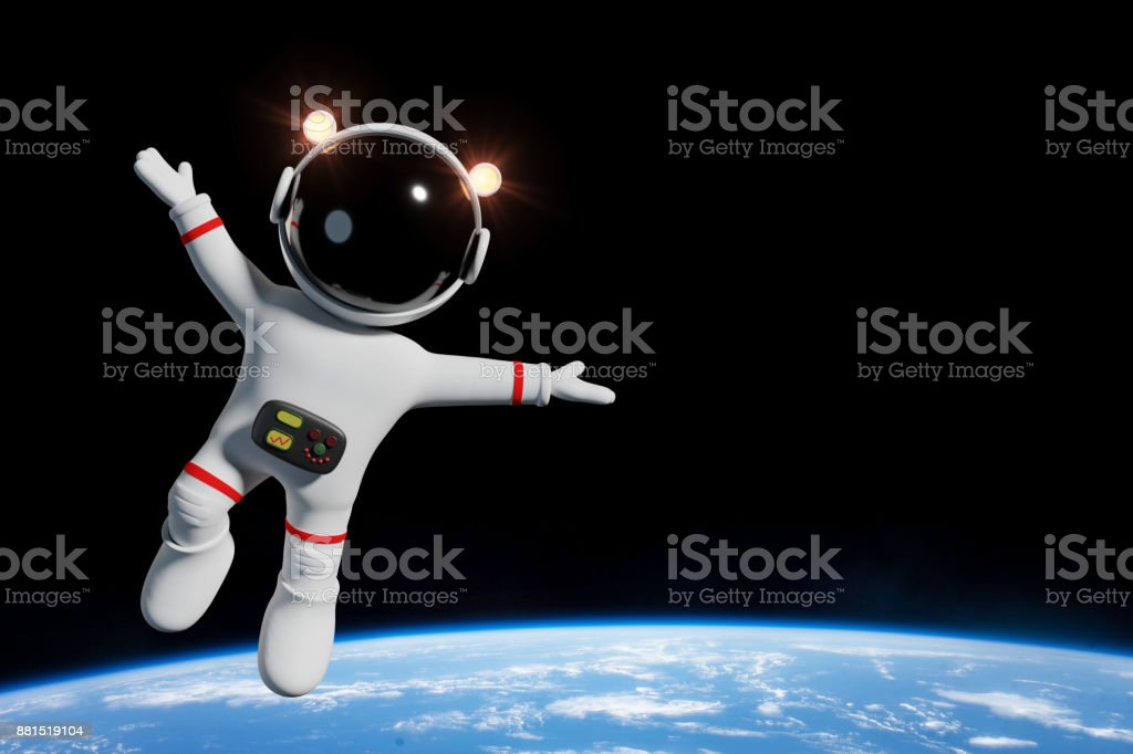 cute cartoon astronaut character in orbit of the planet Earth (3d illustration) stock photo