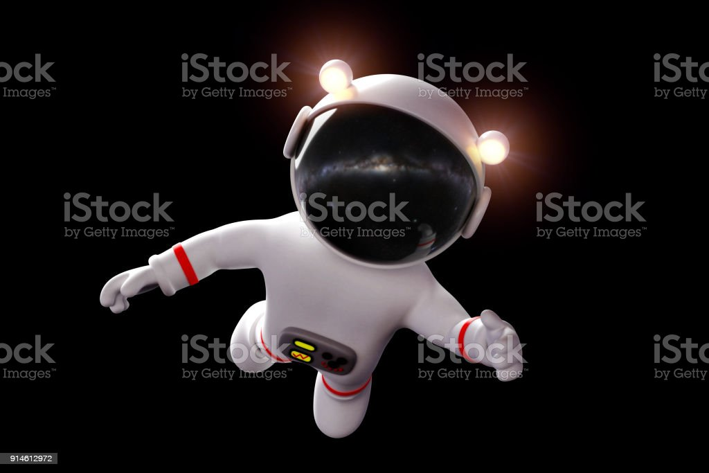 cute cartoon astronaut in white space suit is weightless in zero gravity space (3d rendering, isolated on black background) stock photo