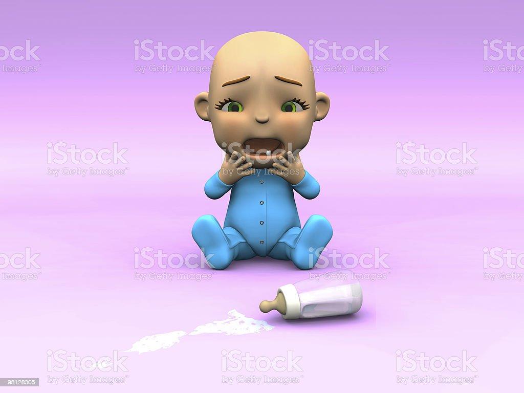 Cute cartoon baby crying over spilt milk. royalty-free stock photo
