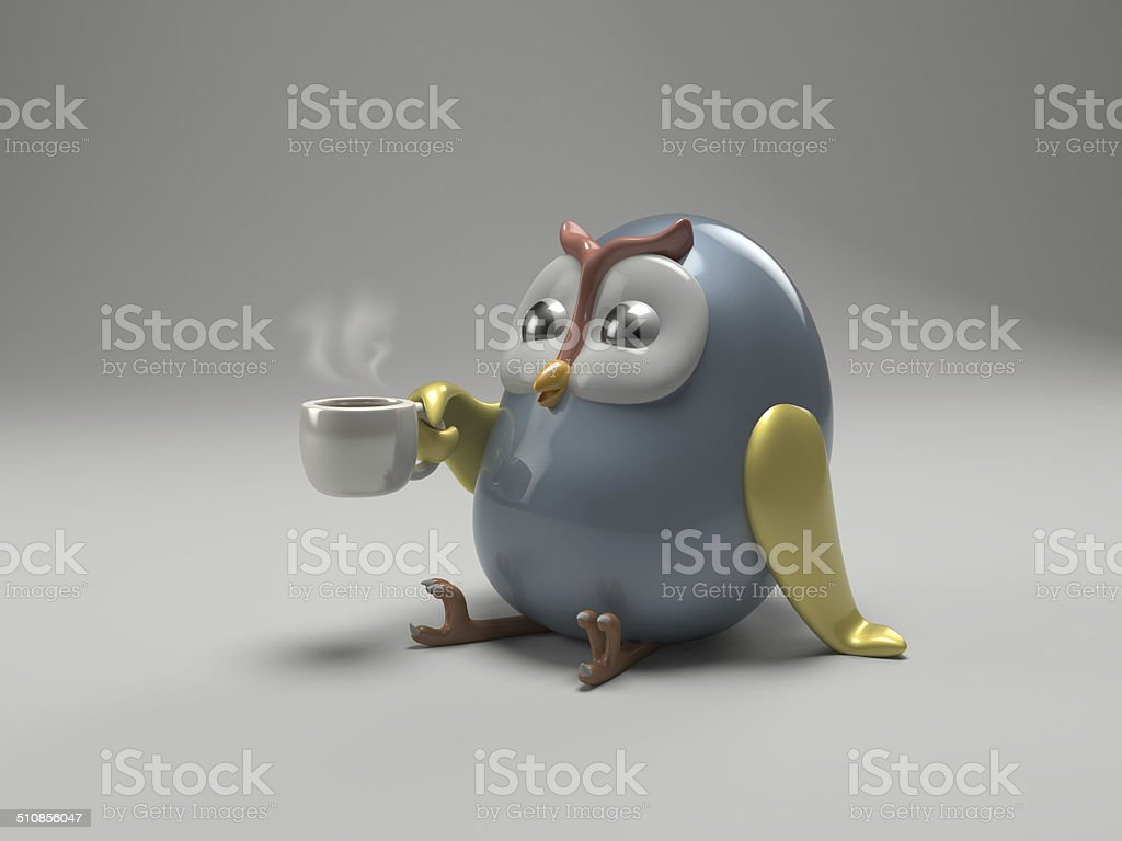 Cute ceramic owl. stock photo