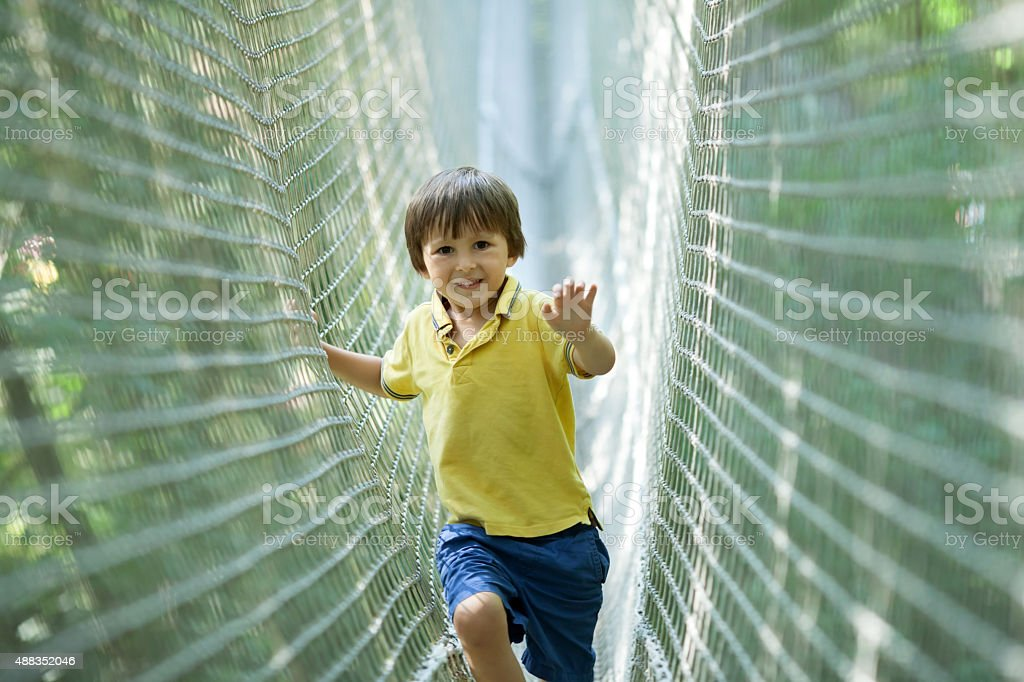 Cute child, boy, walking in a rope playground structure, stock photo