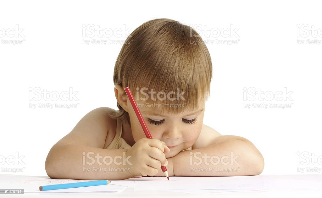 Cute Child Draw With Red Crayon Stock Photo & More Pictures