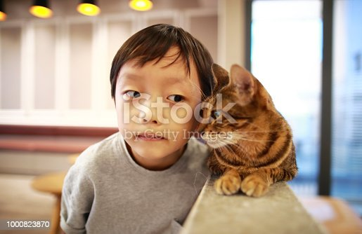 Cute children and cat