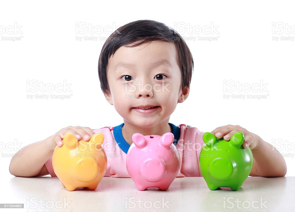 Cute children and piggybank stock photo
