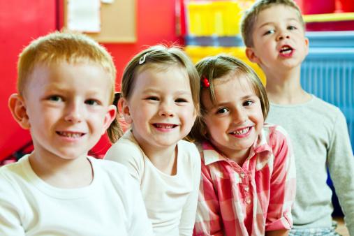 Cute Children In Nursery School Stock Photo - Download Image Now