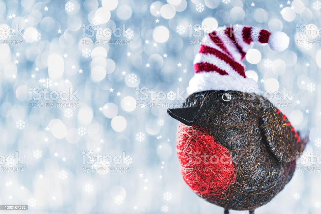cute christmas bird in winter wonderland christmas background with picture id1060167382