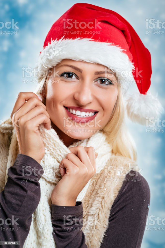 Cute Christmas Girl stock photo