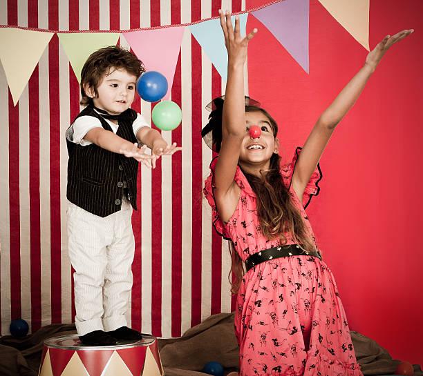 Cute circus performance stock photo