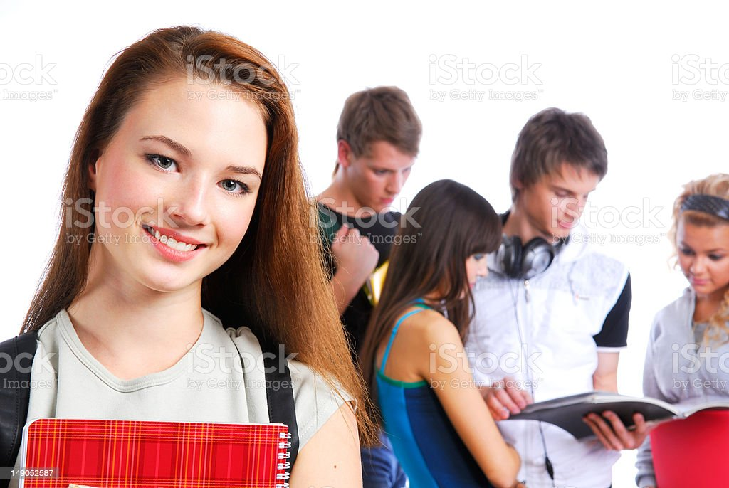 Cute clever adult student royalty-free stock photo