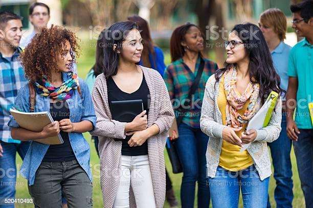 Cute college girls talking together on campus picture id520410493?b=1&k=6&m=520410493&s=612x612&h=2adtzndgans0o1sc82hdzevoxuwvyg3h2csrkjud21i=
