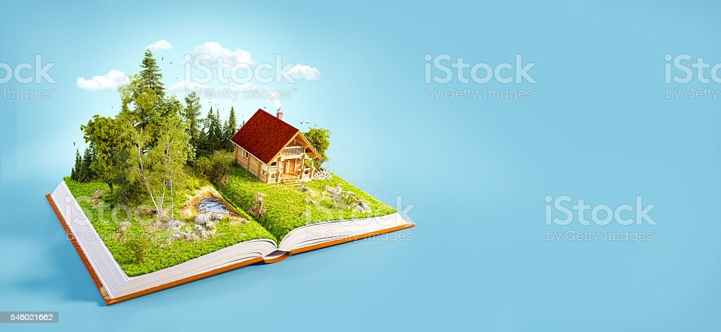 Cute countryside log house stock photo