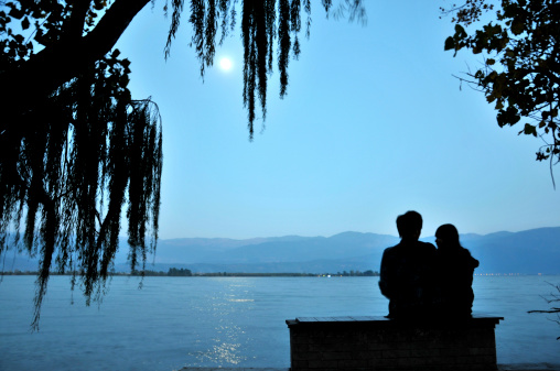 Silhouette of Cute couple at night with moonPlease see some similar pictures from my lightboxe: