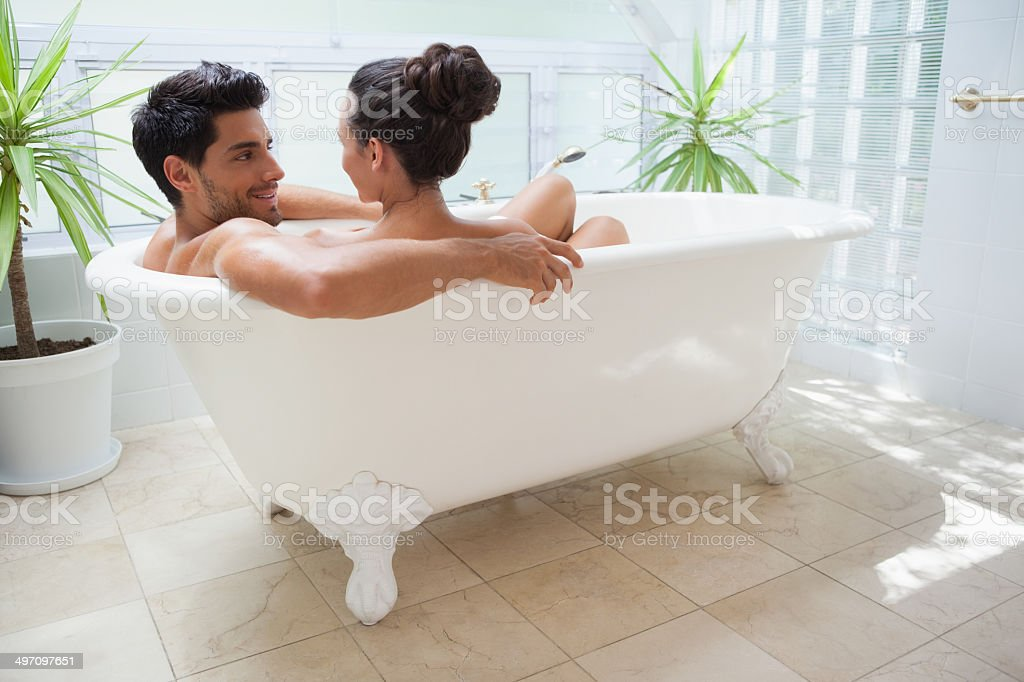 Cute Couple Enjoying A Romantic Bath Together Royalty Free Stock Photo