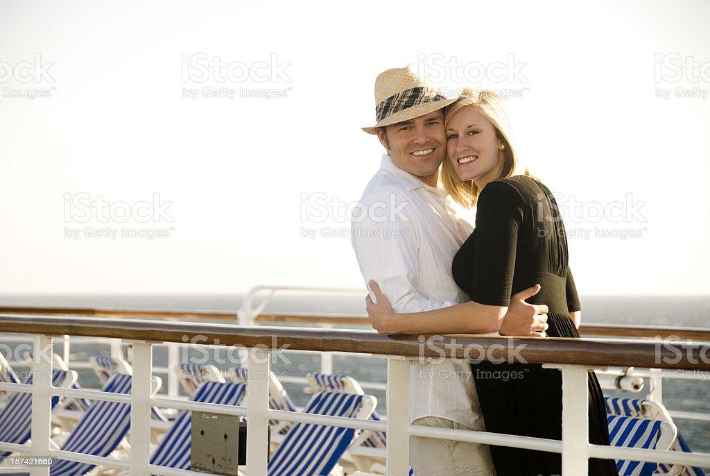 Cute couple on cruise ship royalty-free stock photo