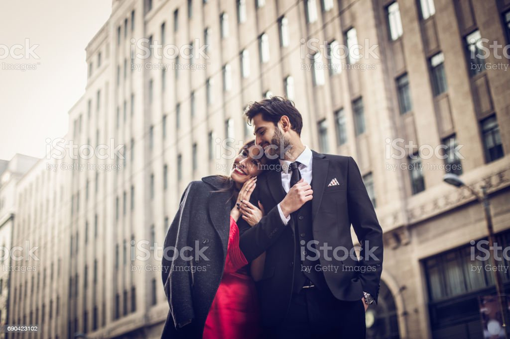 Cute couple on the street stock photo