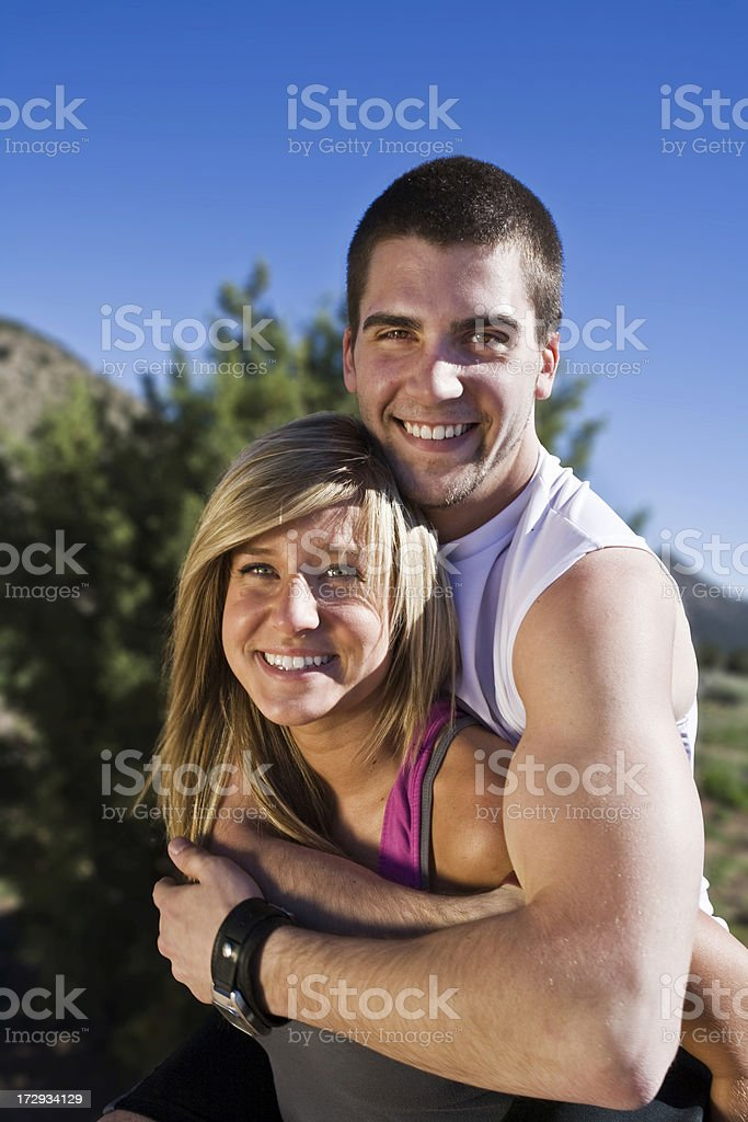 Cute Couple Playing Around. stock photo
