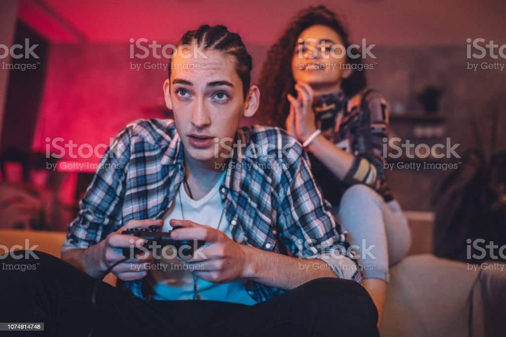 Cute Couple Playing Video Games Stock Photo Download Image Now Istock
