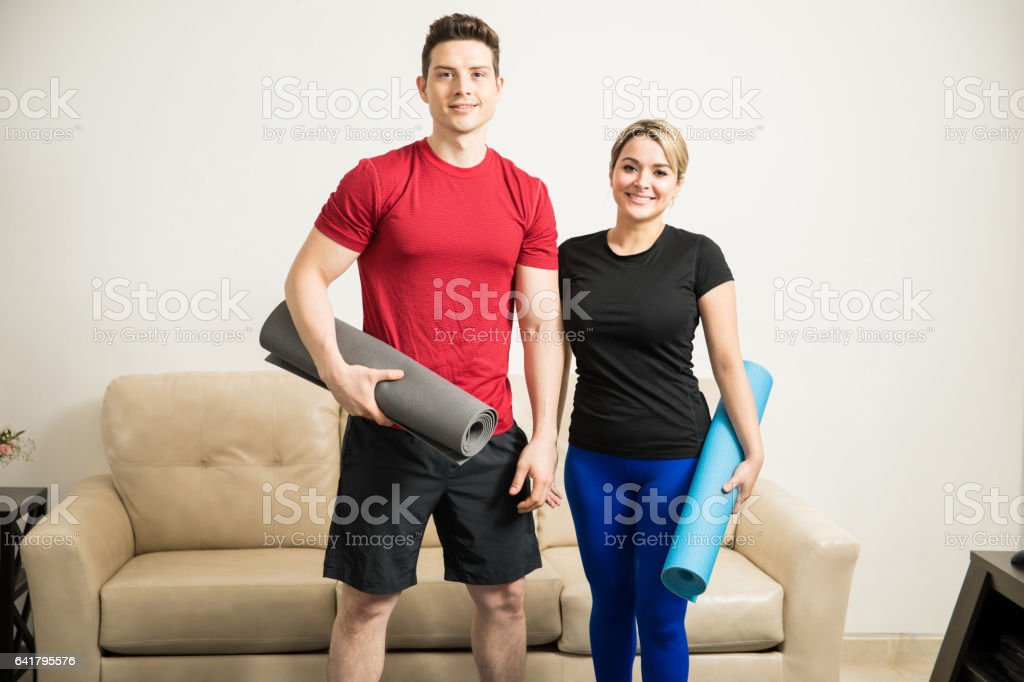 Cute Couple Ready To Exercise At Home Stock Photo Download Image Now Istock