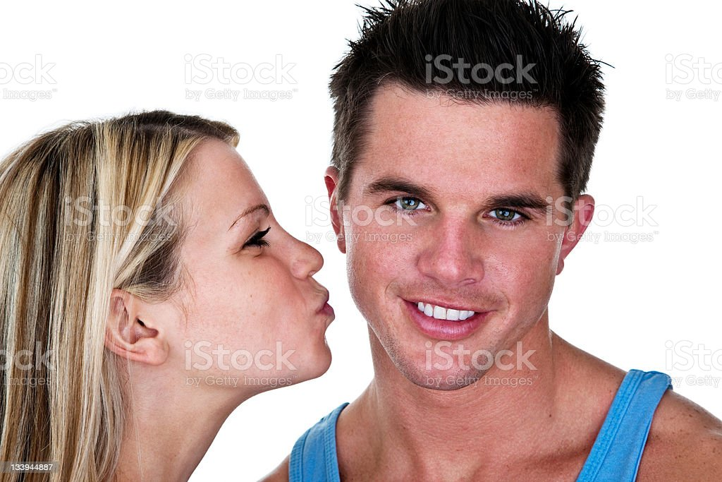 Cute couple woman going to kiss man royalty-free stock photo