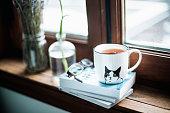 istock A cute cup a tea on books 675694818