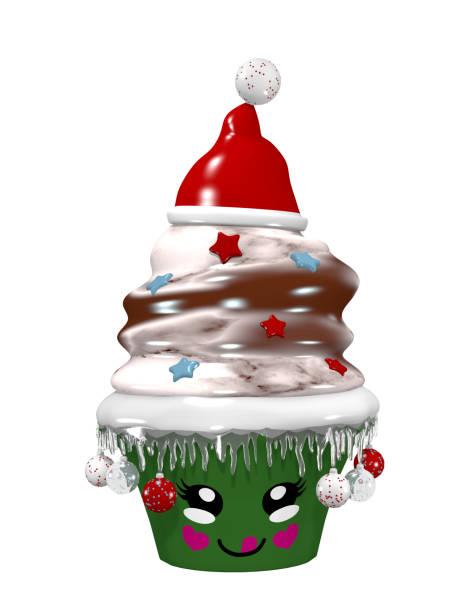 niedlichen Kuchen für Weihnachten mit Weihnachtskugeln und lächelnden Gesicht. – Foto
