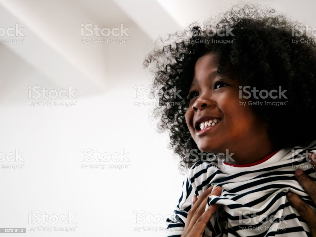 Cute Curly Hair Boy Happy And Having Big Smile When Was Push Up High Stock Photo Download Image Now Istock