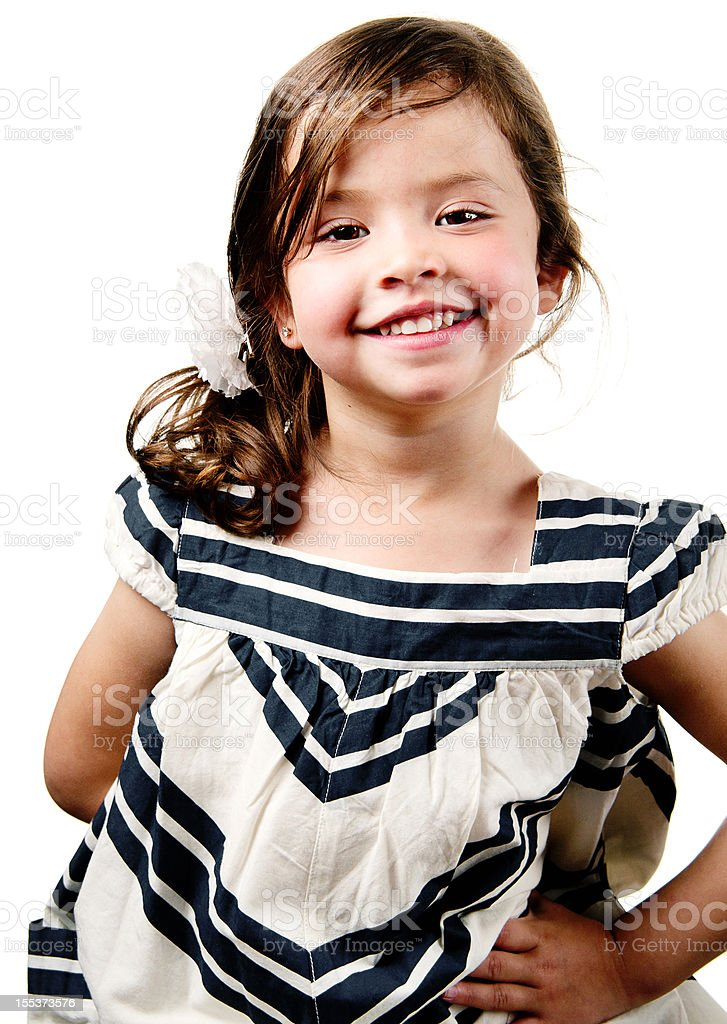 Cute Dark Hair Brown Eye Little Girl Smiling royalty-free stock photo