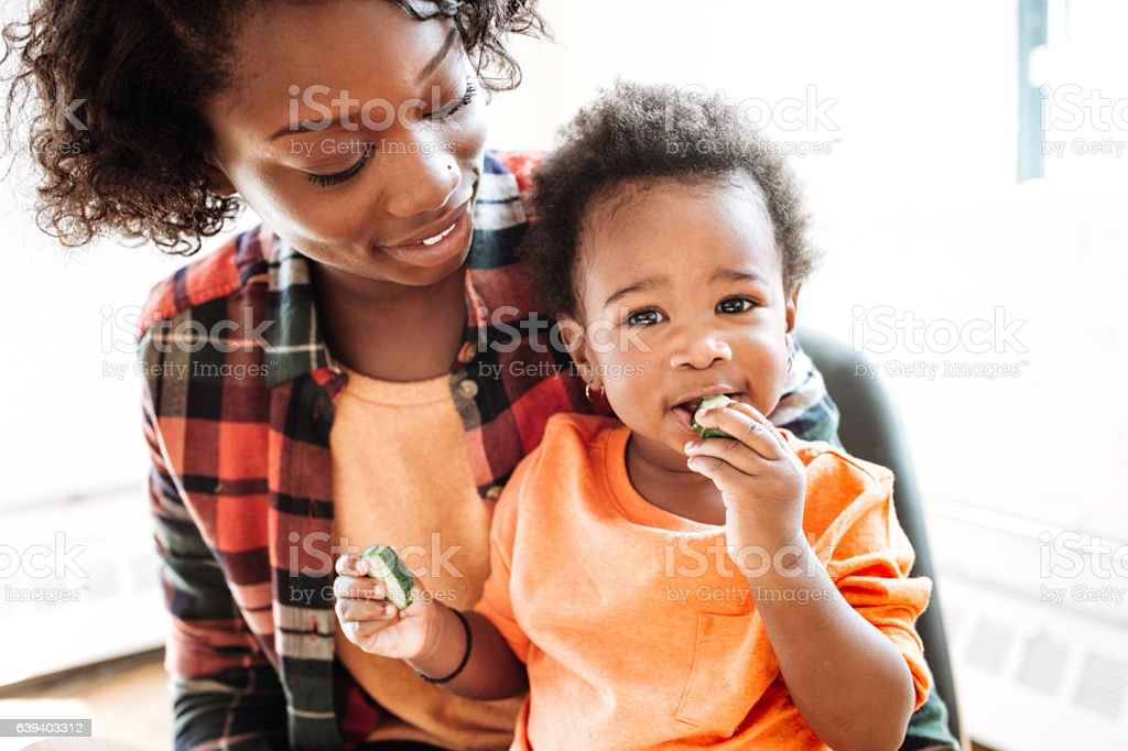 Cute daughter and mother stock photo